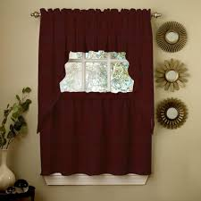 Red Swag Kitchen Curtains Kitchen Wine Opaque Solid Ribcord Kitchen Curtain With Tier