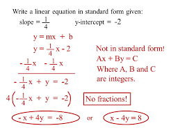 linear equation standard form objective to write a linear equation given point ppt downl on writing