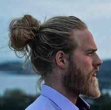 a photograph of a hipster male with the perfect man bun hairstyle placed on the vertex