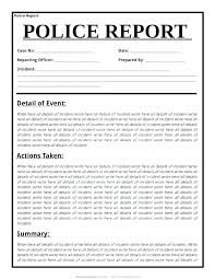 Case File Template Police Report Template Examples Fake Real Lab Templates For
