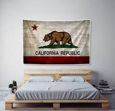 rustic california flag tapestry fabric