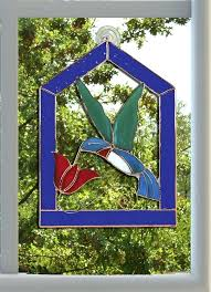 stained glass window hanging gift essentials in x in blue steeple framed hummingbird stained glass window
