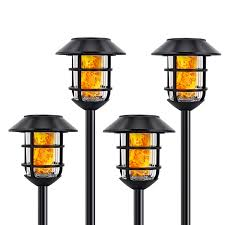 Solar Lights Metal Flickering Flame Solar Torches Lights Waterproof Outdoor Heavy Duty Lighting Solar Auto On Off Dusk To Dawn Pathway Lights
