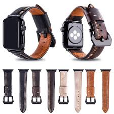 leather band for apple watch series 3 2 42mm 38mm watchband strap with black adapter for iwatch bands malaysia