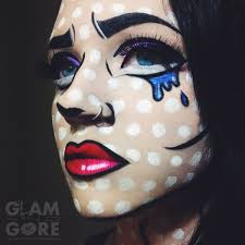 ic book pop art inspired face paint for more makeup looks and tutorials