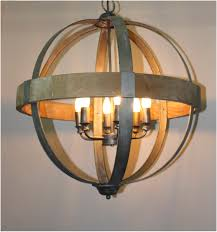 metal and wood chandelier. Round Ball Shaped Metal And Wood Chandelier W Pendant Light In Middle 6 Bulbs \