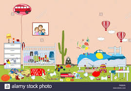 kids untidy and messy room child tered toys and clothing room where two little
