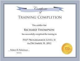 Certificate Of Completion Templates 10 Training Certificate Templates Free Printable Word