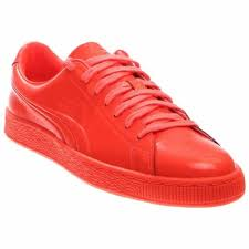 puma basket classic patent emboss mens red leather lace up sneakers shoes 11 5