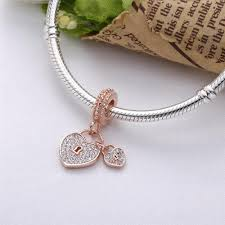 details about lovely rose gold love locks pendant charm s 925 pandora bracelet not included