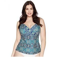 La Blanca Plus Size Tuvalu Underwire Wrap Over The Shoulder Tankini Top Womens Bikini Tops Qkjaxz6s