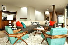 mid century modern fireplace living room with decor