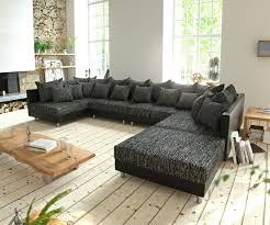Details Zu Couch Clovis Xl Schwarz Mit Hocker Wohnlandschaft Modulares Sofa By Delife