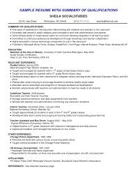 Qualifications For A Job Resume Examples Of Summary Of