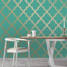 moroccan trellis global bazaar jade gold removable wallpaper kathy kuo home