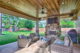 covered patio designs with fireplace. What More Perfect Time To Also Install A Luxurious Covered Patio And Outdoor Fireplace? The Finished Project Features Stunning Wood Ceilings, Designs With Fireplace