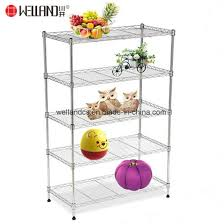 hot ing 5 tiers nsf 80kgs light duty storage chrome metal wire home goods shelf unit