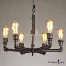 1 tier industrial foyer chandelier rustic iron pipe ceiling fixture with 6 light beautifulhalo com