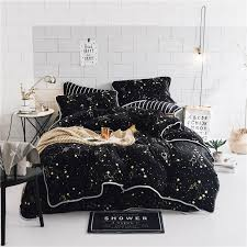 luxury soft velvet bedding set black stars duvet cover sets warm winter bed linen bedclothes double bed elegant bedding black and white bedding sets from