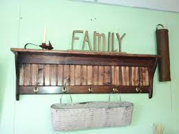 Wall Coat Rack With Baskets Brown Stained Oak Wood Wall Shelf With Metal Coat Hook Added White 65