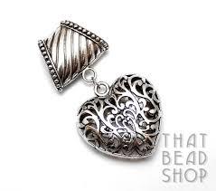 antique silver open cut heart scarf pendant