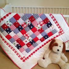 Baby crib quilt~ red~ white~ blue~ baby from AngiesPatch & Baby crib quilt~ red~ white~ blue~ baby patchwork quilt~ boy quilt~  gingham~ quilted b Adamdwight.com