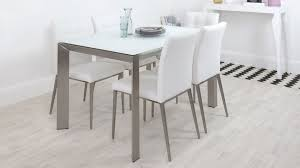 awesome white glass dining table frosted extending real leather chair stunning set and 6 ikea uk 4 room