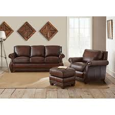 Brown leather sofa sets Loveseat Cameron Park 3piece Top Grain Leather Set Costco Wholesale Leather Sofas Sectionals Costco