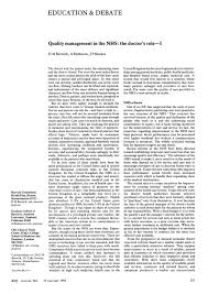 quality management in the nhs the doctor s role i the bmj pdf extract preview