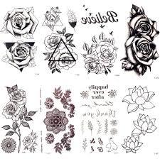 Black Triangle Rose Flower Temporary Tattoo Summer Feather Birds Tattoo Stickers Women Party Waterproof Tatto Girls Body Arm Art