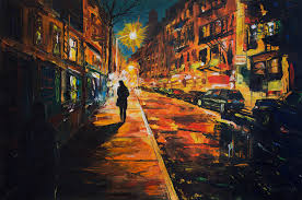 night street 2016 oil painting canvas panel 40x60 this is my remake of photo woman walking in cornelia sreet new york by jean philippe rebuffet