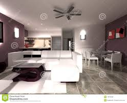 Kitchen Dining Room Modern Living And Dining Room With Kitchen Royalty Free Stock