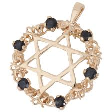 pre owned 9ct yellow gold sapphire set star of david pendant jewellery from william may jewellers uk