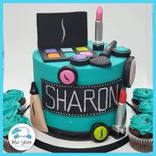Makeup cosmetics box cake   pastel caja de maquillaje. Sharon S Sephora Makeup Birthday Cake Blue Sheep Bake Shop