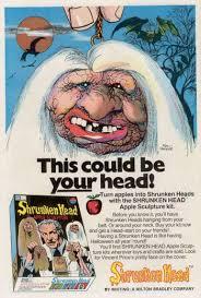 milton bradley shrunken head apple sculpture kit 1970s