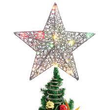 Stobok Weihnachtsstern Topper Bunte Lichter Weihnachtsstern Für Weihnachtsbaumschmuck Partydekoration 12 Zoll Silber
