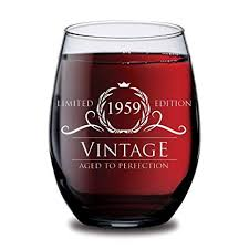 1959 60th birthday gifts for women and men wine gl funny vine 60 year old