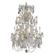 french six light crystal chandelier with amethyst colored beads circa 1930 for