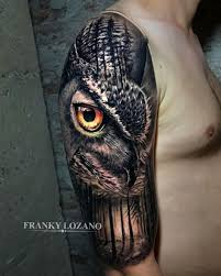 Owl With Piercing Eyes Forest Best Tattoo Design Ideas
