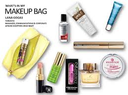 what 39 s in your makeup bag lana gogas manager munication and corporate affairs pers mart essence