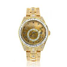 iced out 18k yellow gold diamond sky dweller rolex watch for men 45ct fully iced out 18k yellow gold diamond sky dweller rolex watch for men 45ct