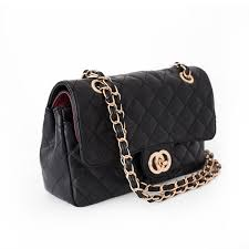 Rita Black Quilted Bag with Gold Chain Strap | Beehola & Rita Black Quilted Bag with Gold Chain Strap Side1 Adamdwight.com