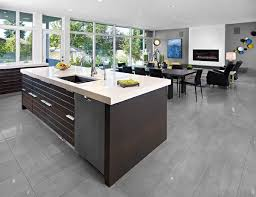 contemporary kitchen floor tile designs. these very on-trend gray porcelain tiles are ideal for a contemporary open-plan space. kitchen floor tile designs t