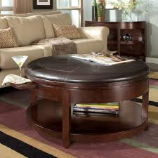 large round storage ottoman coffee table with tray furniture circle leather cocktail oval glass living room upholstered modern soft faux white narrow
