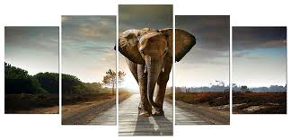com wieco art elephant 5 panels modern giclee canvas prints animals landscape artwork pictures to photo paintings on canvas wall art décor for