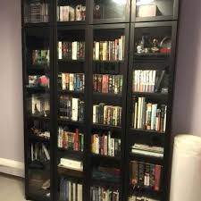 photo black bookcase with glass doors uk