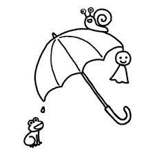 雨傘梅雨夏の季節6月の行事無料白黒イラスト素材 梅雨の白黒