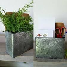 galvanized wall pocket planters 2 galvanized wall planter wall pocket mail desk office home diy ideas uk