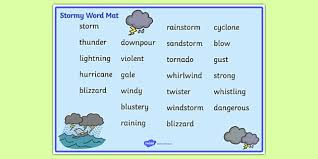 Free Weather And Seasons Stormy Word Mat Weather And