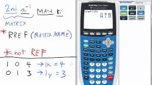 solve matrix system of equations with reduced row echelon form rref part 2 ti 84 calculator